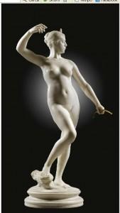Carolina Carlesimo, Falguière A. Diana,  marmo 79 cm,mercato ant.