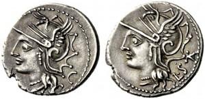 L.Appuleio Saturnino, Atina,104 a.C. den. Crw. 317,1 Syd.579