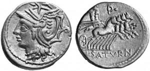 L.Appuleio Saturnino, Atina, 104 a.C., Crw 317,3a  Syd. 578 ma con la p
