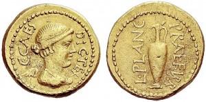 L.Munazio Planco+Cesare AU 46-45 a.C. Crw 475,1a Syd.1019a