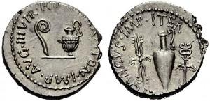 Marco Antonio +L.Munazio Planco,  den. 40 a.C. Crw 522,4 Syd.1191
