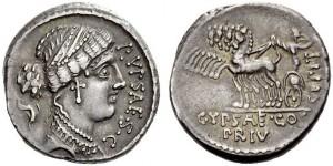 P.Plautus Hypsaeus, Atina,. den. 60 a.C Crw 420,2a Syd.911