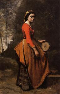 Corot Gypsy with a Basque Tambourine 1850-60 priv.