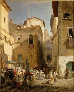 Genazzano, in opera di Achenbach, O. 1865, 135x110 M.Orsay