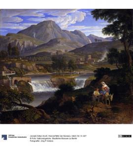 Subiaco, cascate in opera di Koch J.A. 58x68 Nat.Galerie Berlin