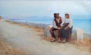 Lui e lei in riva al lago