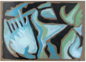Astrazione azzurra, 1964, 35x50 cm, mercato ant.