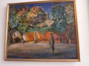 Casa, albero, uomo in primo piano, 64x74