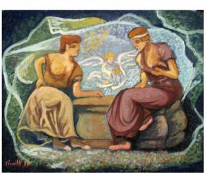 Confidenze, temp. 1918, ardesia 40x50 cm, coll.priv.