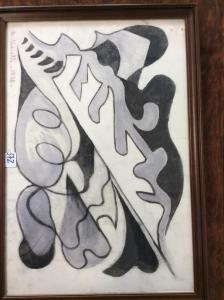 Foglie e alloro, 1938, pastello,30x44 cm, mercato ant..