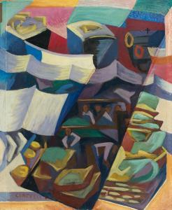 Marché à Paris, 46X38 cm, 1928, mercato ant.