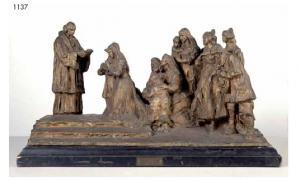 Preparativi per le nozze, bronzo, 53z25 cm, mercato ant.