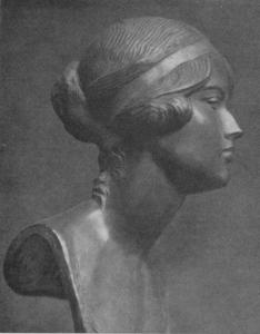 Ritratto di Miss D.Peel, bronzo, 1922, Sapori EMP LXIX n.414 p