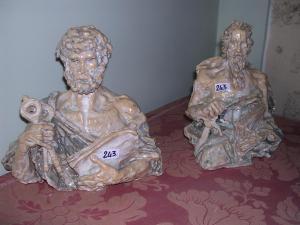 San Pietro e San Paolo, invetriati, 25 cm, coll. priv.